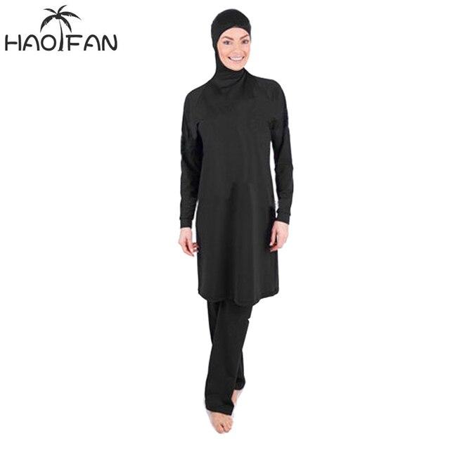 HAOFAN maillot de bain 2 pièces pour femmes, Burkini, vêtements de plage, noir, couverture complète, Hijab, maillot de bain, maillot de bain musulman