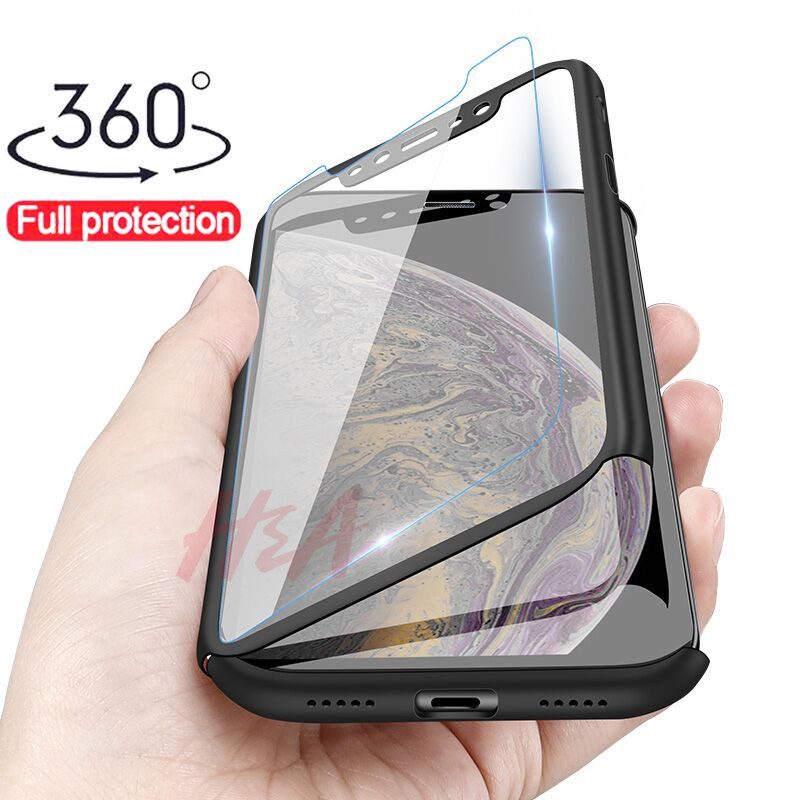 H&A Luxury 360 Full Cover Case For iPhone X XS MAX XR Protective Case For iPhone XR XS MAX X Plastics Phone Case Tempered Glass-in Fitted Cases from Cellphones & Telecommunications