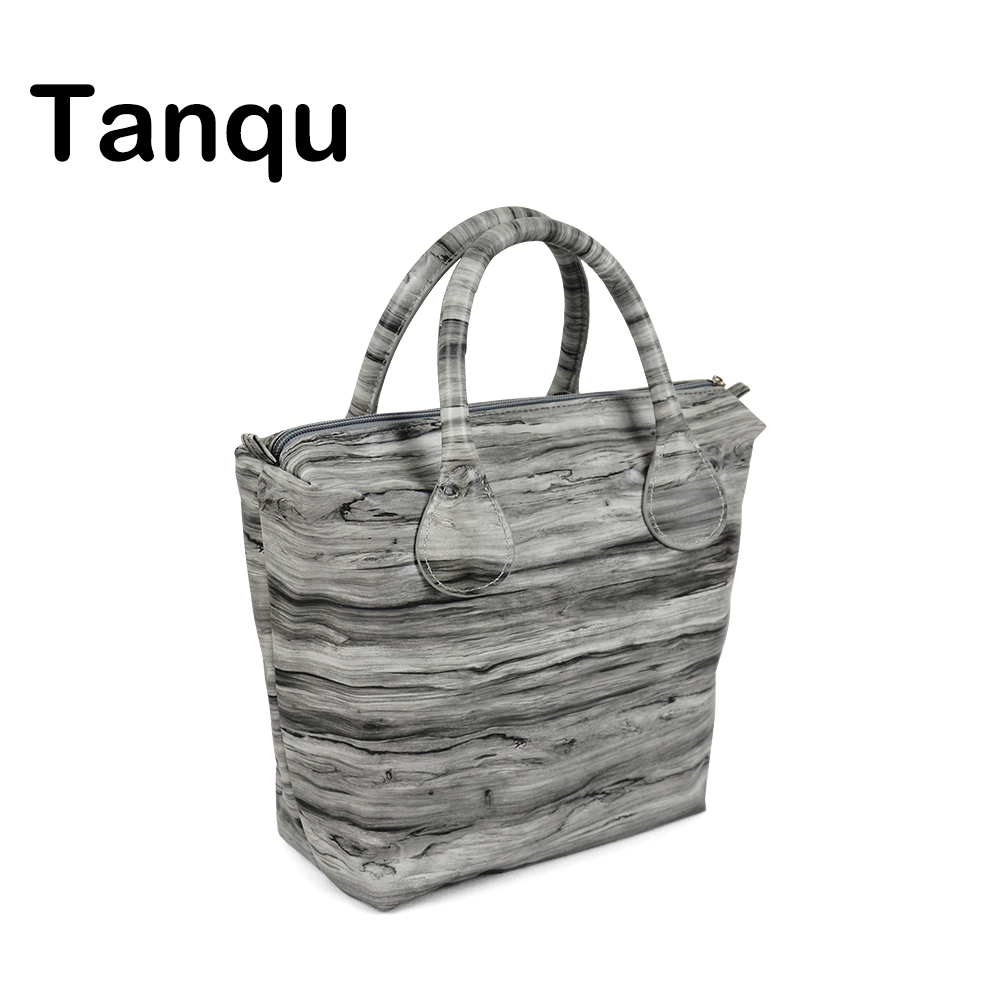 TANQU Waterproof Faux PU Leather Wood Pattern Insert Inner Pocket Plus Handle Combination for Classic Mini Obag O Bag dark blue zippered faux leather handle conference file contract bag container