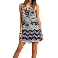 Brief beachwear lace hollow out striped print sundress 2017 new fashion patchwork o-neck back zipper above knee mini dress