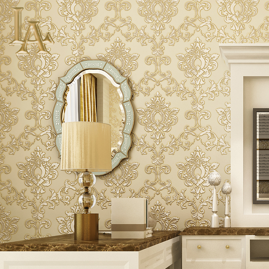 Vintage European Luxury Homes Decor Beige Red Damask Wallpaper For Walls 3 D Bedroom Living Room