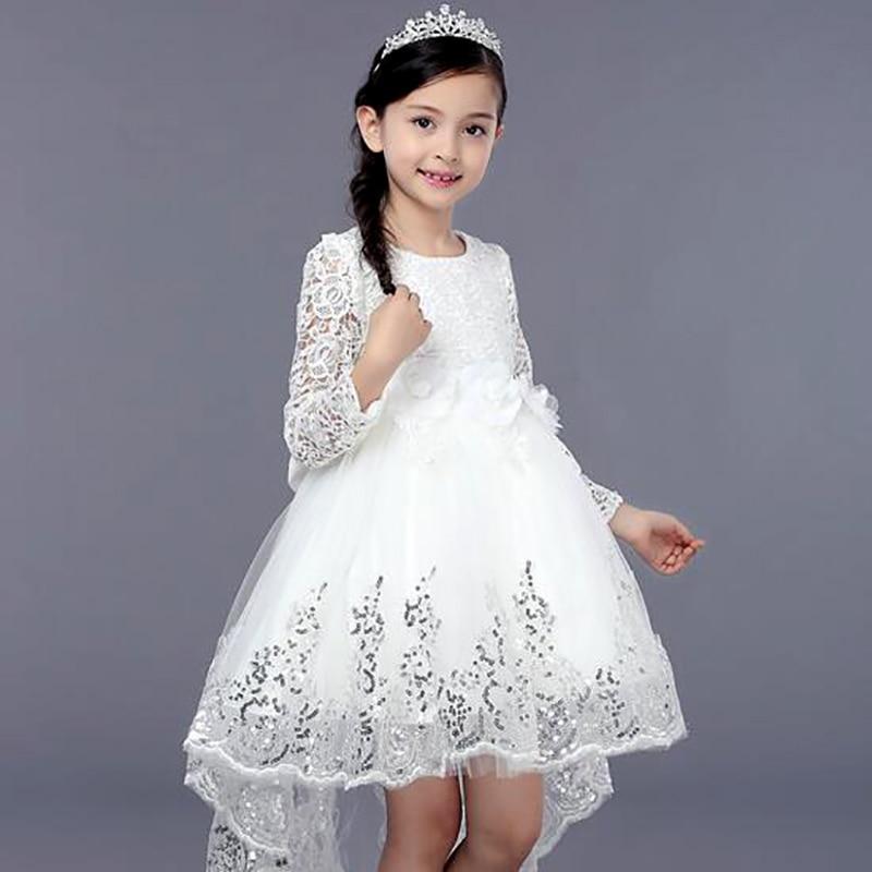 ФОТО Princess Lace Mermaid Girls Dress with Paillette Drape Wedding Easter Junior Bridesmaid Girl Dresses Clothing