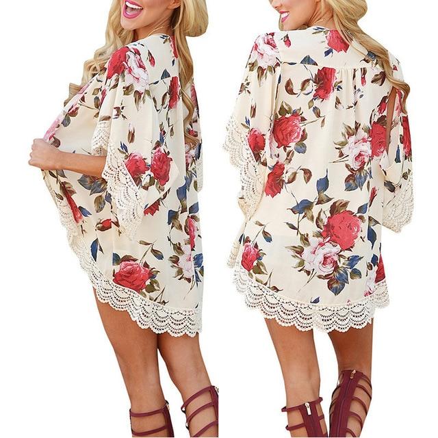 1ee9884620c0 Gasa playa capa camisa Kimono cárdigan blusas protección solar mujeres 2019  blanco mujer Vestido de manga larga L60