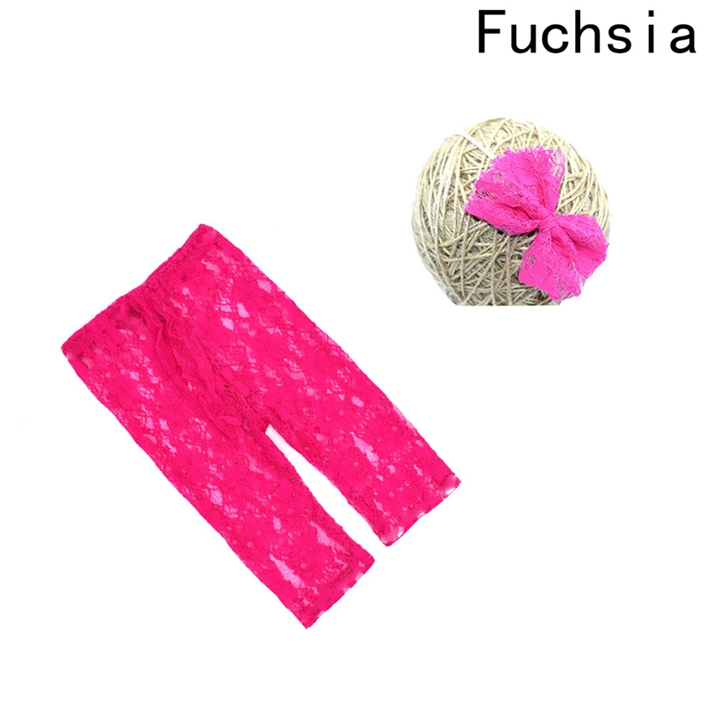 2PCS/set Newborn Photography Props Baby Girls Clothing Suits Lace Pants+Floral Headband For Infant Girl Costume Clothes