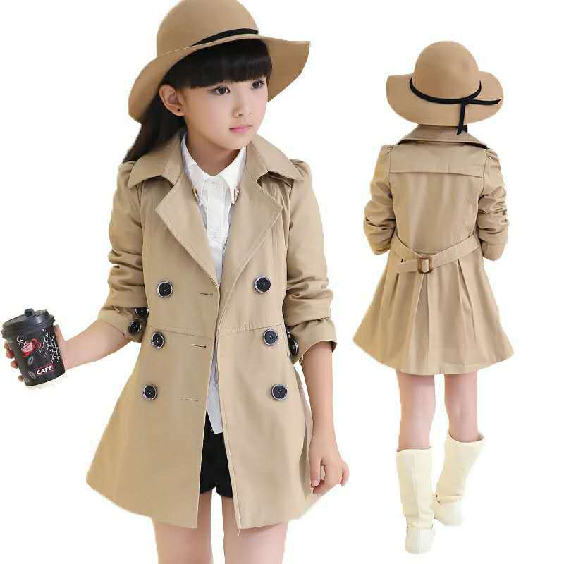 Autumn New School Girls Jackets Solid Detachable Children Windbreaker Coat   Trench   Fashion Spring Autumn 5-16T Baby Girl Jacket