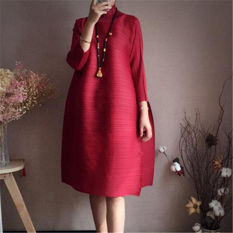 2018 printemps col roulé femmes robe Miyak plissé mode Design solide lâche grande taille femme genou-longueur robe marée