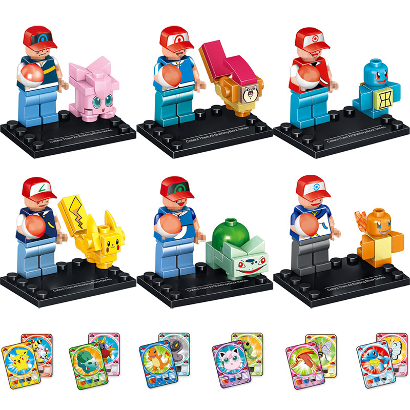 New Figures Blocks Pocket Monster Ash Ketchum Squirtle Pikachu Mini Dolls LegoINGLYS Cartoon Dolls Toys for Children 6 in 1 anime ash ketchum gym badges badge brooch small squirtle bulbasaur figures toy zinic alloy brooch action figures toy