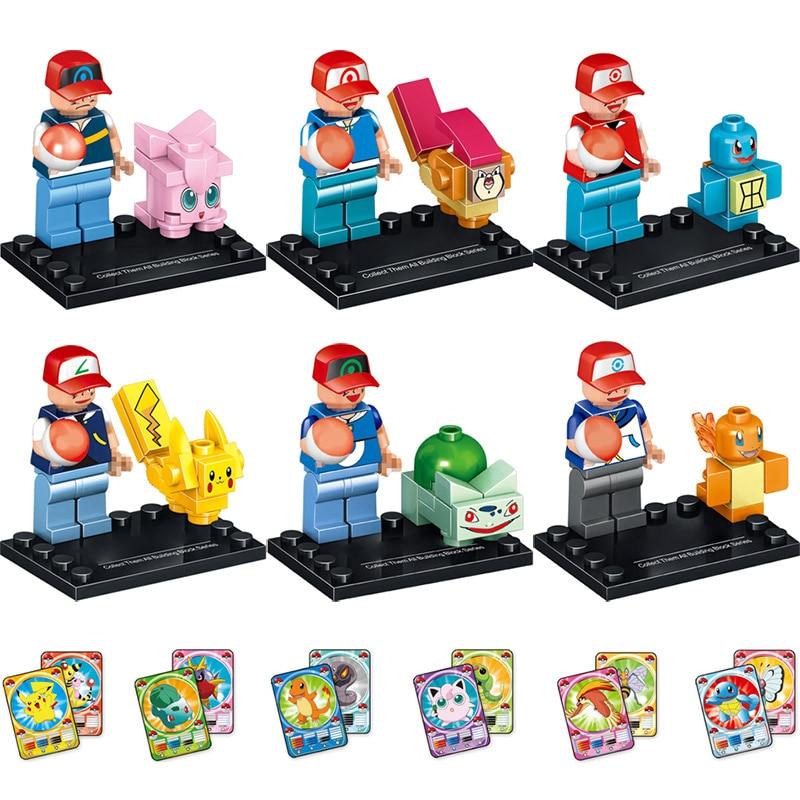 New Figures Blocks Pocket Monster Ash Ketchum Squirtle Pikachu Mini Dolls LegoINGLYS Cartoon Dolls Toys for Children 6 in 1 цена