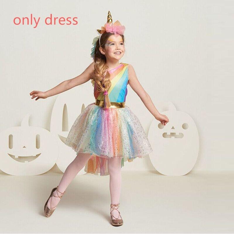 Halloween Girls Princess Fancy Dress Up Costume Outfits: Fancy Dress For Girls Unicorn Party Dress Up Rainbow Kids