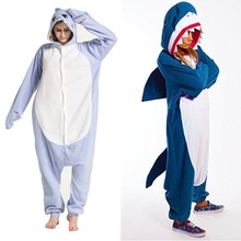 Акула Кигуруми костюмы-комбинезоны для мужчин и wo с капюшоном животных  мультфильм пижамы синий Акула e07935429e746