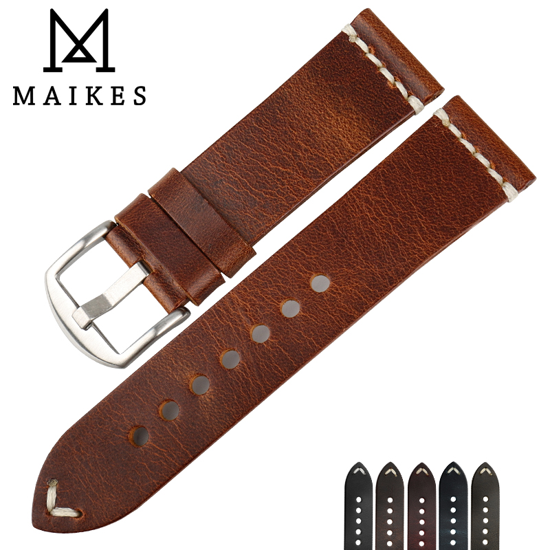MAIKES Genuine Cow Leather Strap Watch Bracelet With Buckle Greasedleather Vintage Watch band 22mm 24mm Watchband a149 light grey alligator genuine leather watch strap 24 24mm watchband with buckle