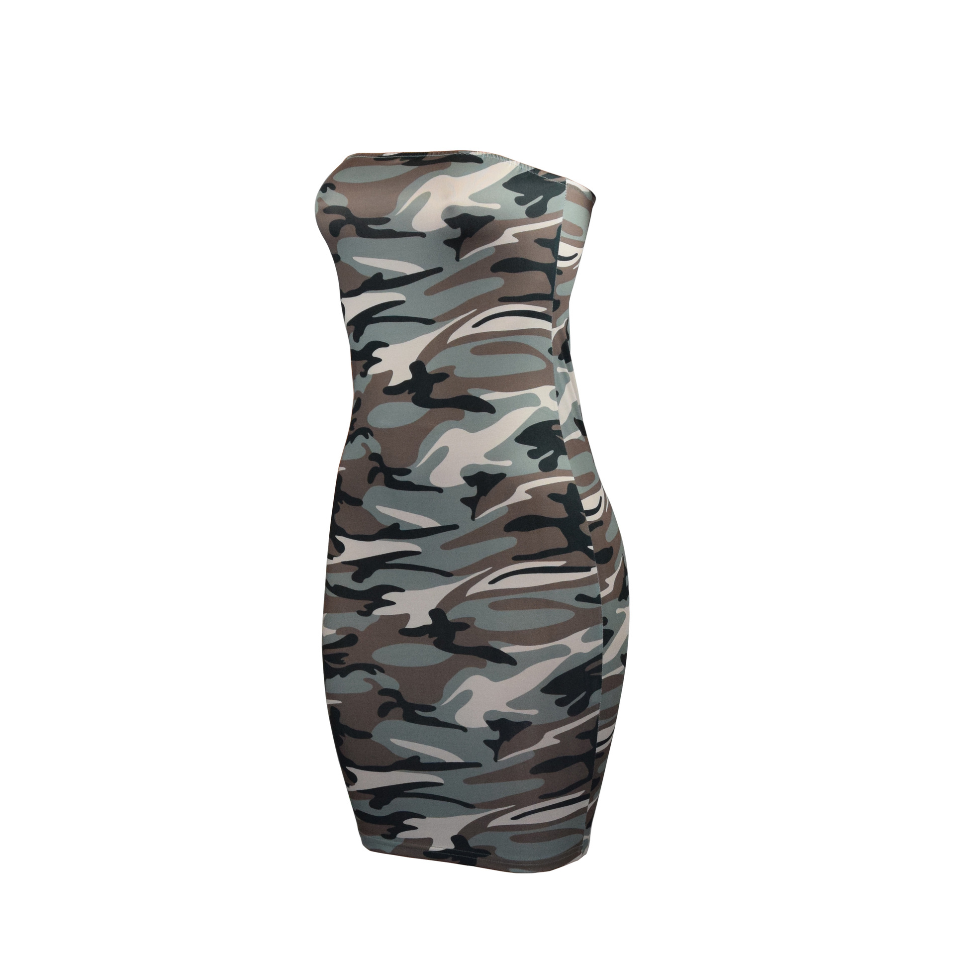 0d3f4e7de1747 New Women Sexy Bandeau Bodycon Dress Camouflage Evening Party Club Pencil Dress  Strapless Ladies Short Mini Dress-in Dresses from Women's Clothing on ...