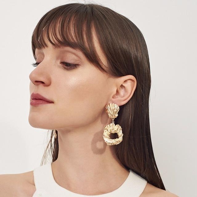 DIEZI Exaggeration Punk Geometric Gold Earrings for Women Metal Alloy Silver Statement Earring Drop Dangle Earrings Jewelry