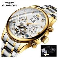 Brand GUANQIN Watch men Mechanical Tourbillon style Automatic waterproof stainless steel strap date gold watches Erkek kol saati
