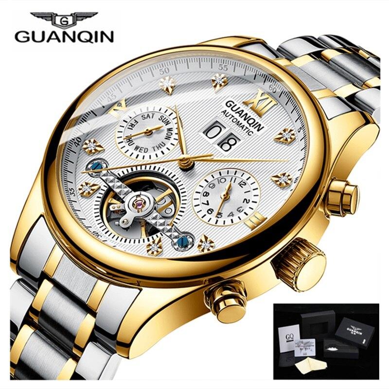 Estilo da marca GUANQIN homens Relógio Turbilhão Mecânico Automático data cinta relógios de ouro de aço inoxidável à prova d' água Erkek kol saati