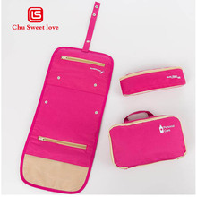 лучшая цена Oxford cloth three-in-one foldable waterproof cosmetic bag multi-purpose wash bag large capacity to meet the storage requirement