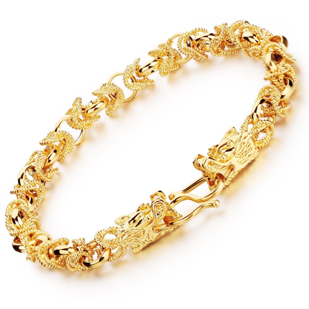 Charm Man Bracelets Vintage Dragon Head Style Chain & Link Men Bracelet Jewelry 22CM Long KS445