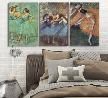 3 Panel World Famous Painting Reproduction on Canvas Wall Art - Dancers by Edgar DegasModern Home Decor Drop shipping