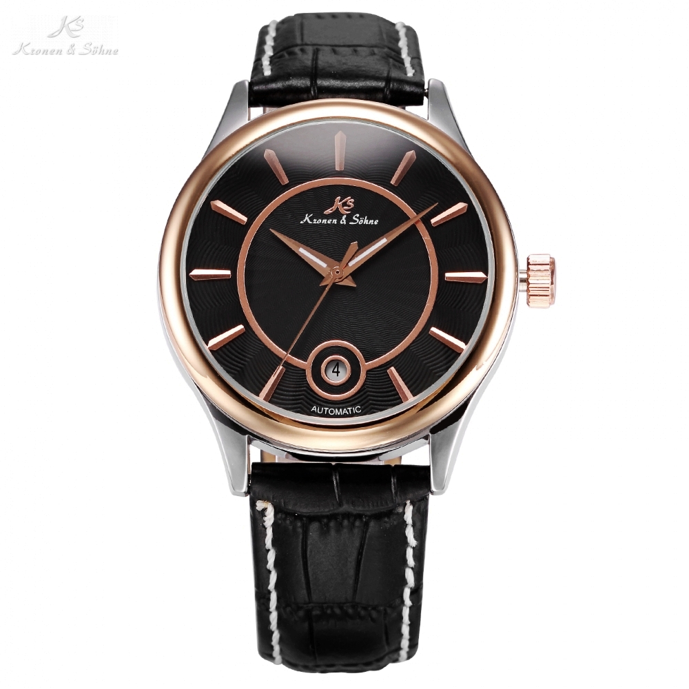 KS Brand Men Black Rose Gold Stainless Steel Calendar Leather Band Self Winding Automatic Mechanical Watches Clock + Box /KS264 wilon all steel self winding mechanical wristwatch black silver