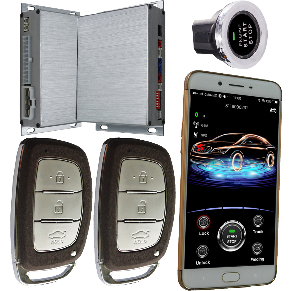 gsm intelligent car alarm system with remote engine starter smart phone app keyless entry cheap car