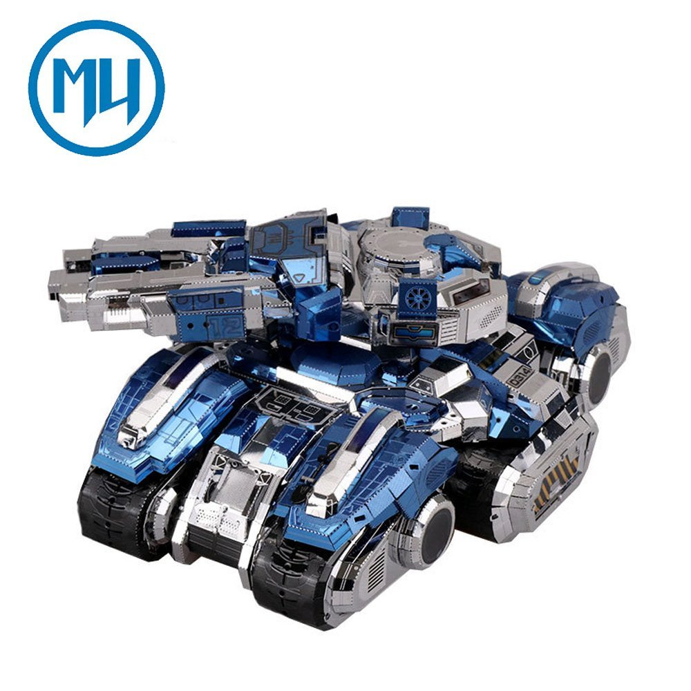 2017 MU 3D Metal Puzzle Siege Tank Model Kits YM-N030-DBS DIY 3D Laser Cut Assemble Jigsaw Toy Collection Gift mu bumblebee t6 diy 3d metal puzzle assemble model kits laser cut jigsaw toys ym l066