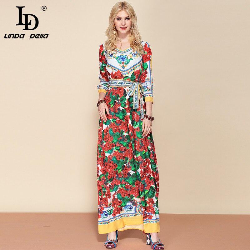 リンダデラファッションデザイナー付きマキシロングドレス女性の DELLA LD V