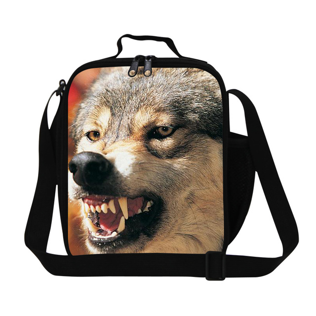 Children Cool Wolf Print Kids Cooler Lunch Bag Bolsa Lancheira Thermal Bag Animal Small Portable Insulated Picnic Lunch Box