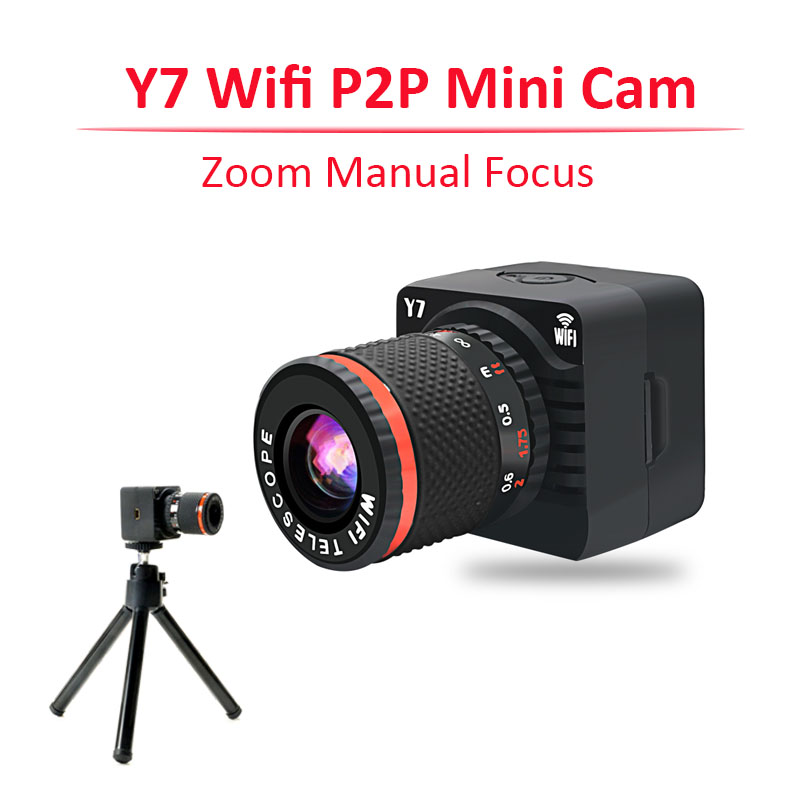 new mini kamera y7 wifi p2p zoom camera hd 720p micro camera espion wireless app telescope 50x. Black Bedroom Furniture Sets. Home Design Ideas