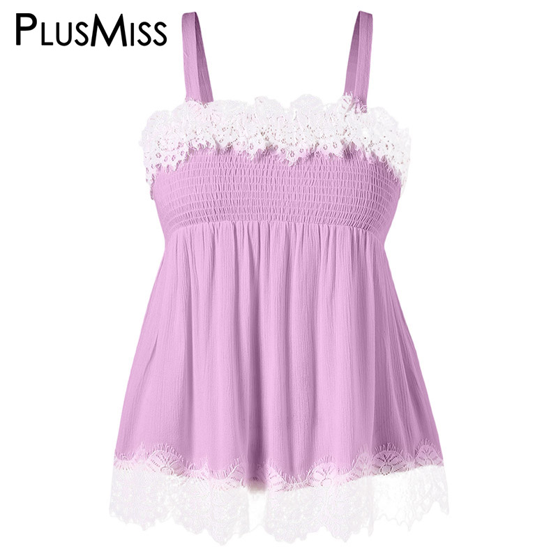 5ddc0e52a5e PlusMiss Plus Size 5XL 4XL Sexy Smocked Floral Lace Crochet Crop Cami Top  Women Spaghetti Strap Cropped Vest Black Pink Big Size-in Camis from  Women s ...
