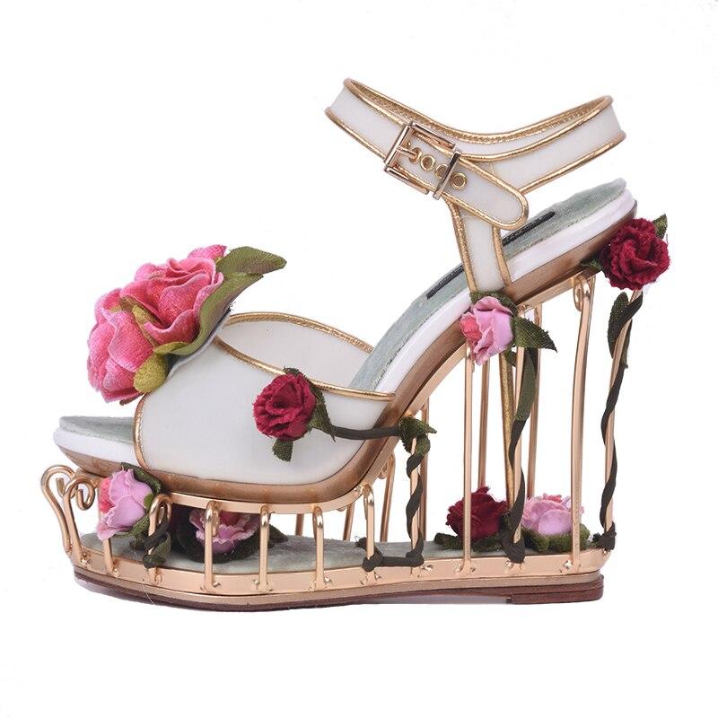 New 2018 Newest Peep Toe Woman Sandal Caged Heels Platform Wedge Sandal Flower Decorations Cutouts Gladiator sandal