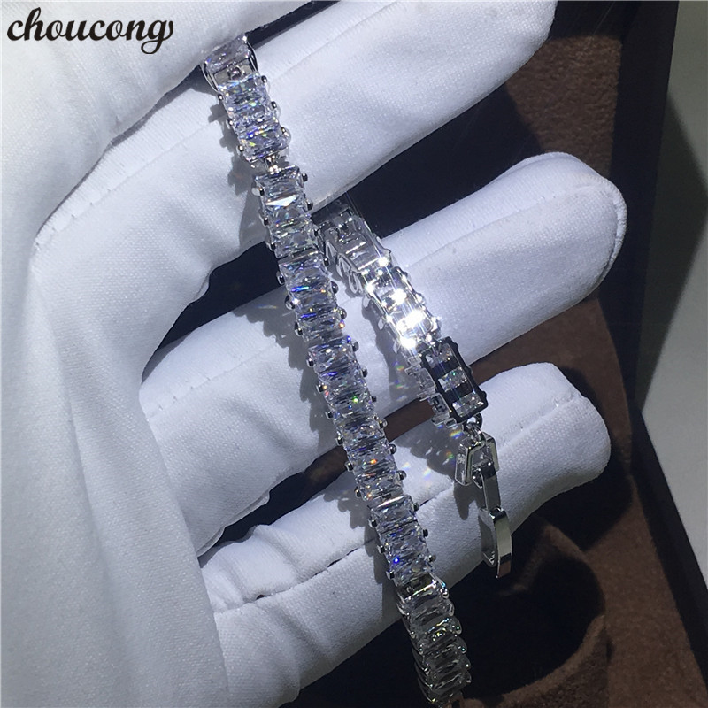 choucong Classic bracelet White Gold Filled T shape AAAAA Zircon cz Engagement Wedding bracelets for women Hand Jewerly