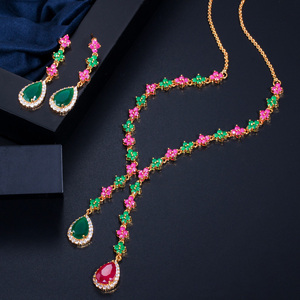 Image 3 - CWWZircons Beautiful Green and Red CZ Zirconia Stone Jewelry 4 Leaf Long Drop Party Necklace Earrings Sets for Women T225