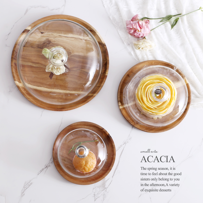 Acacia Houten Plaat voor Cake Fruit Dessert Dienbladen Creative Wedding Birthday Party Afternoon Tea Tray met Cover S M L