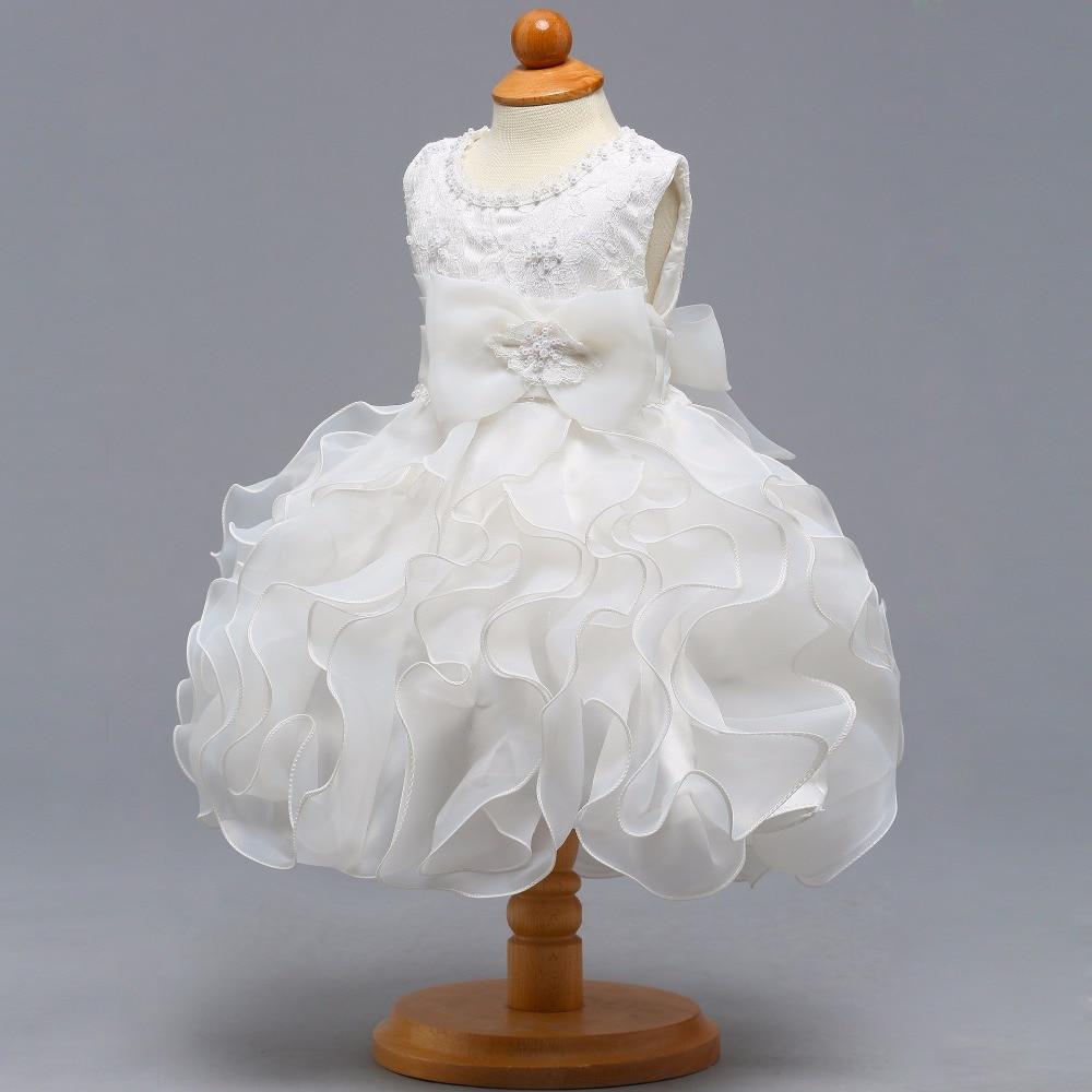 New O-neck Sleeveless Little   Flower     Girl     Dresses   Elegant Big Ruffle   Girl     Dress   Princess Ball Gown