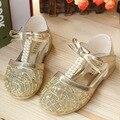 Niños de la princesa de las muchachas zapatos de vestir de encaje rebordear verano muchachas de los niños zapatos Wrap cabeza Bow Kid Sandalias Meninas TX86