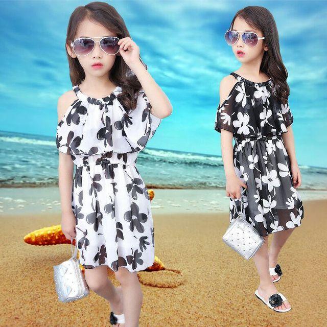 aef9bf2bd60 Chiffon Bohemian Beach Dress For Girls Clothing 2018 Ruffles Strapless Summer  Children Dresses 5 6 7 8 9 10 11 12 Years