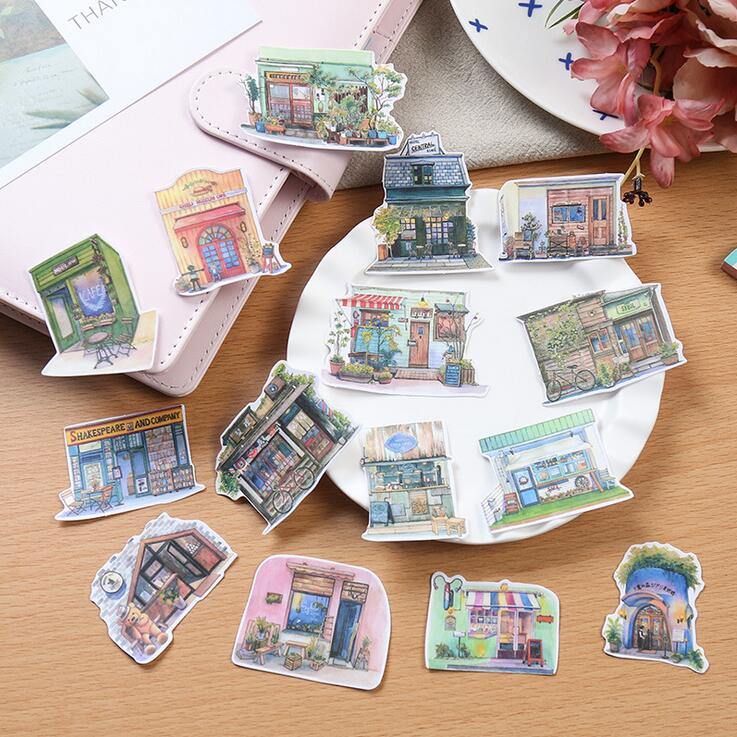 Japanese Style Retro Little House Stickers Decorative Stationery Craft Stickers Scrapbooking DIY  Stick Label little house in bakah 3 иерусалим