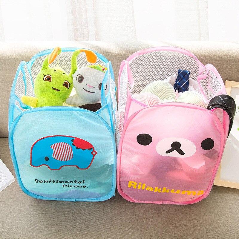 1PC Kawaii Hello Kitty Foldable Nylon Mesh Hamper Laundry Basket Cartoon Bucket