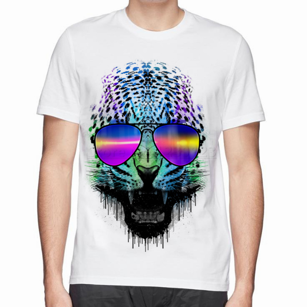 Design t shirt neon colors - Fresh Design Animal Neon Panther Color Glasses Cotton T Shirt O Neck New Style T Shirt