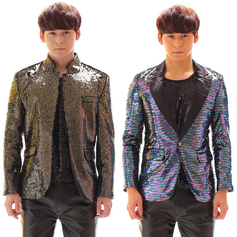 Fashion New Men's Personality Multicolour Gradient Paillette  Suit costume Nightclub Male DJ Singer Performance wear