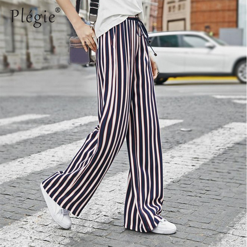 Plegie Loose Trousers Women Trousers Elegant Brand Womens Trousers Drawstring Thin Black Vertical Striped   Wide     Leg     Pants