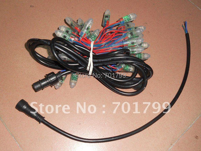 12mm RGB full LED pixel module (WS 2811IC);DC5V input,50pcs a string;input end with a 2m long 4core waterproof cable