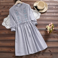 Mori Girl Fall Clothes 2017 New Autumn Slim Waist Dress Women Long Sleeved Floral Embroidery Blue