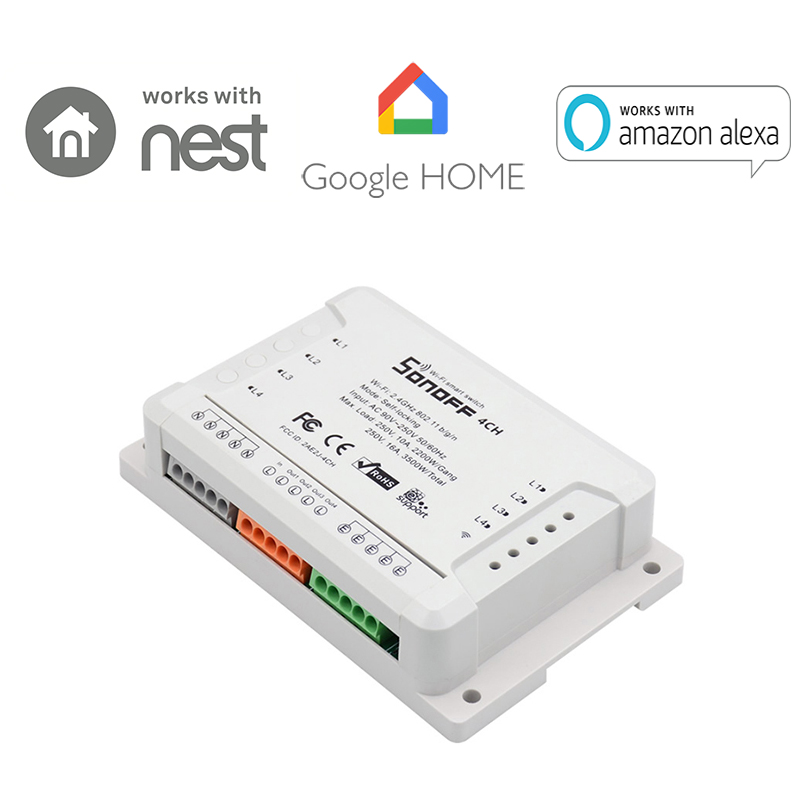 Sonoff 4CH R2 Smart WiFi Switch 4-Gang Wireless Switches Din Rail Mounting Home Automation on/off Phone remote control 10A/2200W itead sonoff 4ch smart wifi switch 4 gang wireless switches din rail mounting home automation on off remote control 10a 2200w