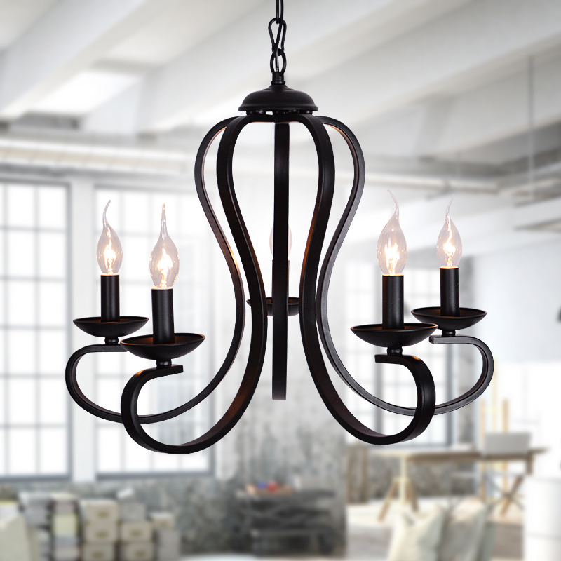 Us 75 2 53 Off Modern Iron Pendant Lights Rustic Black And White American Light Wrought Lighting Fixture Bedroom Living Room In