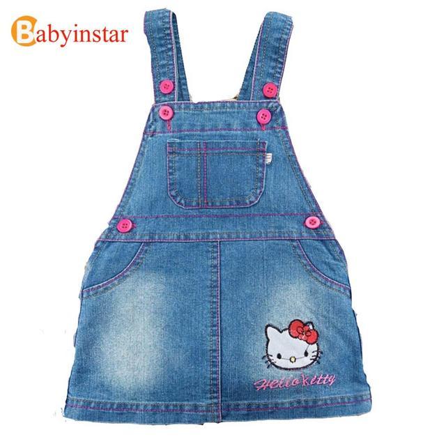 Kids Dresses For Girls 2017 Cute Cartoon Hello Kitty Children Clothing Baby Costume Fashion Girl Denim Dress