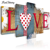 REALSHINING Diamond Embroidery Scenic 5Pcs Home Love Wall Sticker 3d DIY Full Diamonds Painting Mosaic Pictures