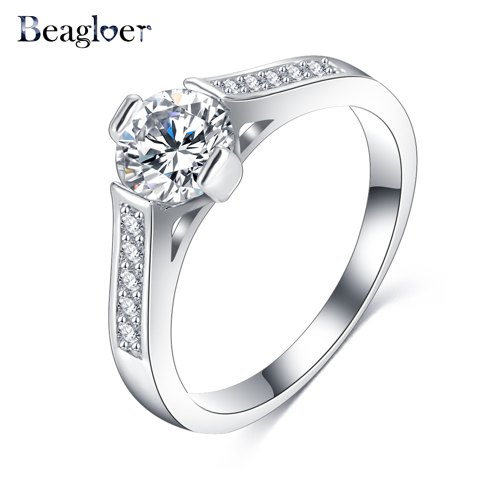 Beagloer Newest Design Ladies Rings Round Silver Gold Color Finger Rings For Women Wedding Jewelry CRI0252-B