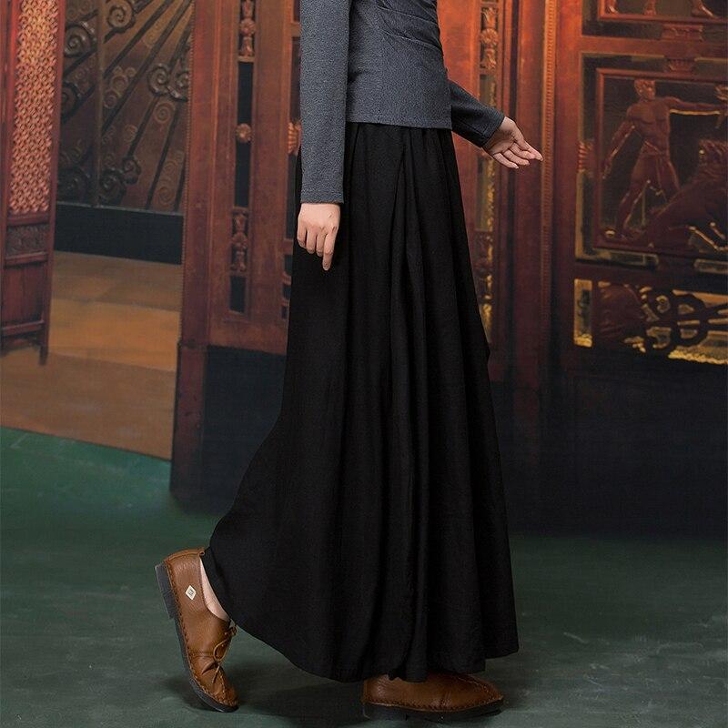 Diseños Largas 2018 Tamaño 5xl Lino 4xl Faldas Maxi otoño Invierno Negro E Falda Sólido Mujer Más Casual Retro 6xl Algodón nRqnpx6Hw