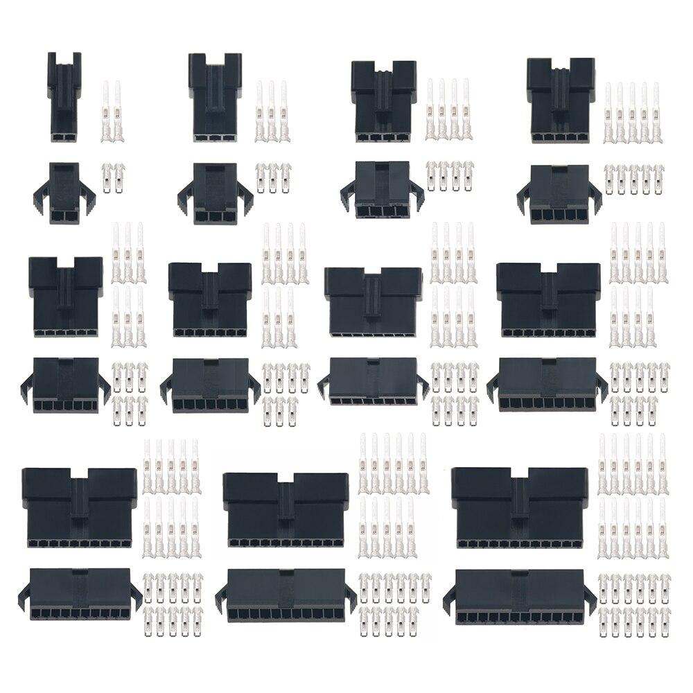 20sets/lot ConnectorsSM2/3/4/5/6/7/8/9/10/11/12 Pin Pitch 2.54MM  Female And Male Housing + Terminals  SM-2P SM-2R JST SM2.54